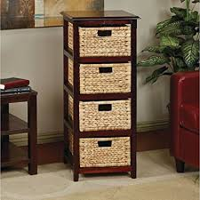 tall end tables. Tall End Table Wicker Nightstand Storage Wood Side Bedside 4 Drawers Furniture Tables