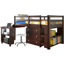 Kids Desk With Storage Low Dark Wooden Loft Bed With Pull Out Desk And Storage Dresser