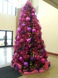 Christmas Tree with Purple Ribbons and Balls Decorations. Source