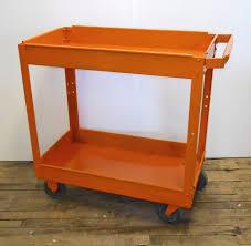 Vintage Metal Kitchen Cart Metal Cart Orange Paint Bar Cart Garden Cart Plant Stand