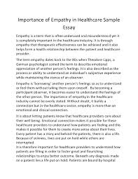 essay on healthessay of health importance of empathy in healthcare sample essay importance of empathy in healthcare sample