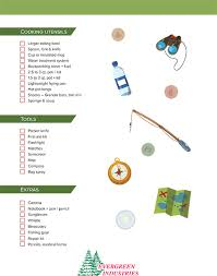 Boy scout camping checklist – from Evergreen Industries