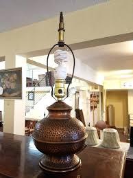 hammered table lamp item vintage hammered copper table lamp large hammered metal table lamp