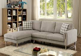 chenille fabric sofa. Perfect Sofa Hera Contemporary Style Pewter Chenille Fabric Sofa Sectional W Chrome Legs To