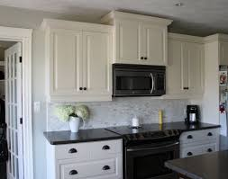 My Kitchen White Cabinets Dark Counters Drawer Backsplash Ideas For
