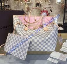 Designer Discreet New Website Louis Vuitton Damier Azur Neverfull Mm With Pink Lining