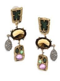 alexis bittar semi precious multi stone chandelier clip on earrings multi all jewelry dangle drop