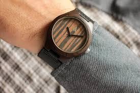 ebony 37 leather strap wood watch