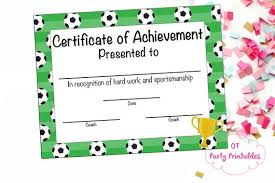 Instant Download Soccer Certificate Of Participation Soccer Award Print At Home Soccer Mvp Soccer Certificate Of Achievement