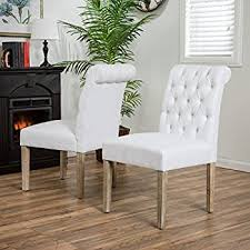 elmerson roll back off white fabric dining chairs set of 2