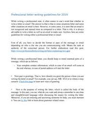 how to write a professional letter professional letter writing guidelines for 2019 by professional