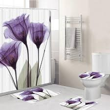 <b>Bathroom Shower Curtain Flower</b> Print Durable Waterproof Bath ...