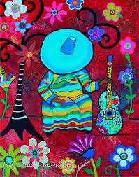 folk art sleeping mariachi guitar player sombrero mexican painting by prisarts fls flowers