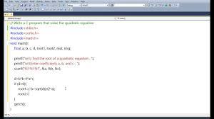 c program quadratic equation