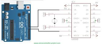 l293d motor driver and controller with arduino controlling rotation direction of dc motor