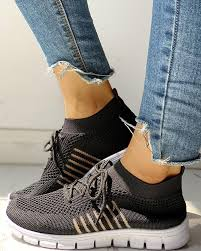 Knitted Breathable Lace-Up Striped Sneakers, Black - chicme.com ...