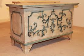 furniture motifs. White Wooden Chest With Blue Motifs Furniture