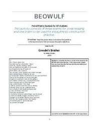 ap literature and composition essay intro checklist ap  ap english literature beowulf paired poems for close reading and study