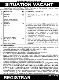 university of the punjab lahore job vacancies 6 2016