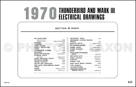 ford thunderbird and lincoln mark iii wiring diagram original table of contents page