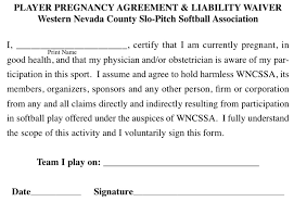 waver form pregnancy agreement liability waiver