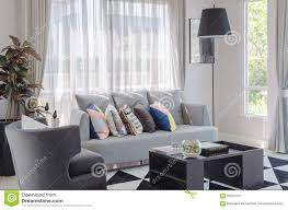 Living Room With Grey Sofa Colorful Pillows On Modern Grey Sofa In Living Room Stock Photo