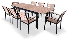 extendable outdoor dining sets. eco-wood extendable patio dining set, weathered brown contemporary-outdoor- dining- outdoor sets e