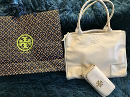 details about tory burch ella canvas leather tote in french gray blush color