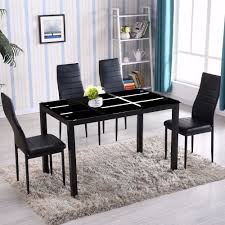 Zimtown New Modern 5 Pcs Dining Table Set With 4 Leather Chairs