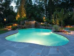 swimming pool lighting options. Swimming-Pool-Design-with-Mini-Waterfall-and-Lighting-Ideas-Perfect Swimming Pool Lighting Options