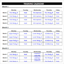 weekly exercise schedule chart template