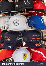 Grand Designs Merchandise F1 Grand Prix Merchandise Baseball Caps Stock Photo