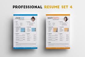 Professional Resume Set 4 Resume Templates Creative Market