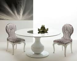 contemporary dining table lacquered wood round white