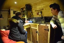 van conversion wood pine campervan matt cooking lunch