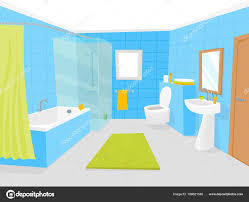 cartoon bathroom sink and mirror. Cartoon Bathroom Interior With Furniture Card Poster Include Of Shower, Mirror, Sink, Bath, Faucet And Towel. Vector Illustration \u2014 By Bigmouse Sink Mirror I