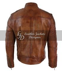 Leather Jacket With Design On Back Stylish Designer Mens Belted Neck Motorcycle Leather Jacket