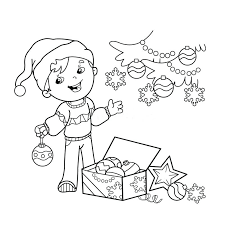 Christmas Cartoon Coloring Pictures Page Outline Of Boy Decorating ...