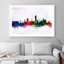 manchester  on manchester skyline wall art with manchester skyline purple wash watercolour print dead good art