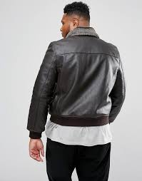 men s schott plus leather flight jacket detachable faux fur collar slim fit in brown h3y1