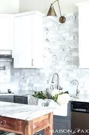 carrara marble subway tile marble subway tile two toned gray and white cabinets marble subway tile