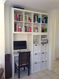 home office wall shelving. Wall System Idea With White Bookshelves And Media Desk A Darker Coated Wooden Chair Home Office Shelving S
