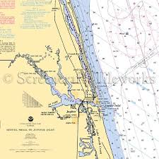 Florida Jupiter Inlet Nautical Chart Decor