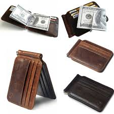 slim thin mens leather wallet money clip credit card id holder front pocket 3 3 of 12
