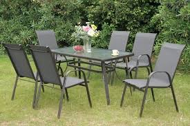 patio table and chairs set 7 collection steel frame and fabric patio table and chair set