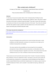 why contest early childhood pdf available