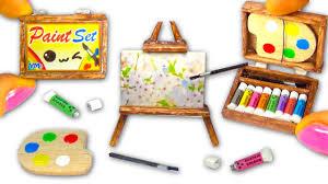 miniature diy paint set paintings easel palette acrylic colors art supplies yolandameow you