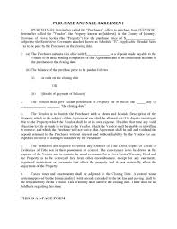 Sale Agreement Forms Nova Scotia Purchase Sale Agreement For Bare Lot