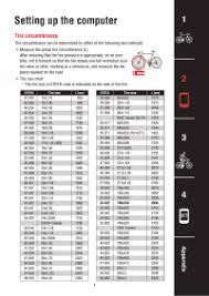 Cateye Strada Wireless Wheel Size Chart 29 Wheel Size Chart For Bike Computer