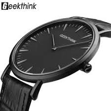 watches blueshine jewellery geekthink top brand luxury quartz watch men business casual black quartz watch genuine leather